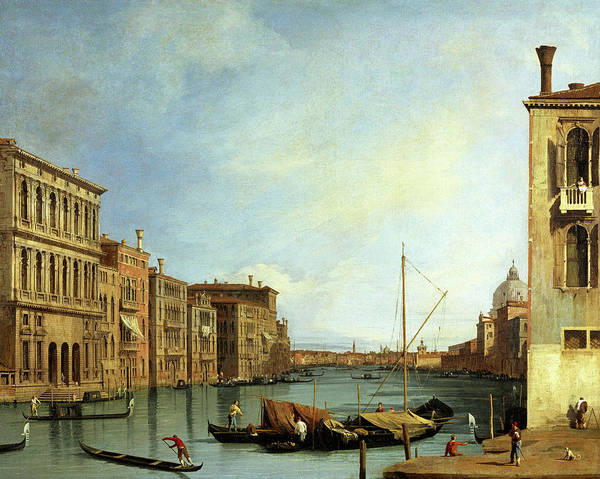 Wall Art - Painting - The Grand Canal From The Campo San Vio, Venice, 1728 by Canaletto