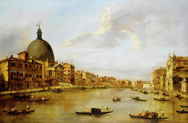 Wall Art - Painting - The Grand Canal, Venice, With San Simeone Piccolo by Manner of Francesco Guardi