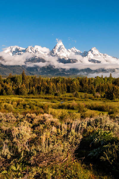 Wall Art - Photograph - The Grand Tetons With Fog - Grand Tetons National Park Wyoming by Brian Harig