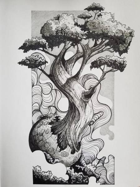 Wall Art - Drawing - The Grand Tree by Cristian Acosta