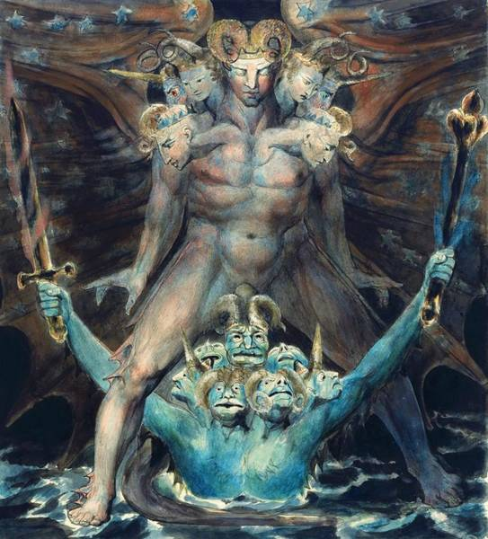 Greek Myths Wall Art - Painting - The Great Red Dragon And The Beast From The Sea - Digital Remastered Edition by William Blake