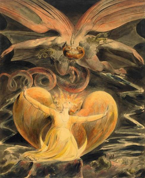 Wall Art - Painting - The Great Red Dragon And The Woman Clothed With The Sun - Digital Remastered Edition by William Blake
