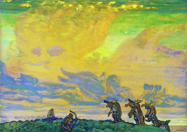 Wall Art - Painting - The Great Sacrifice, Setting For I F Stravinskys Ballet, Sacred Spring by Nicholas Roerich