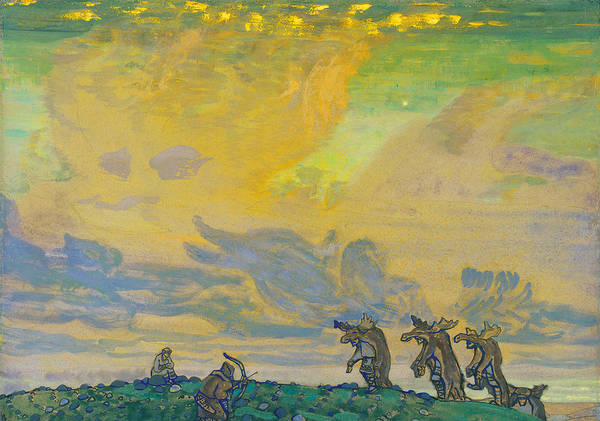 Painting - The Great Sacrifice. Setting For Stravinsky's Ballet Sacred Spring by Nicholas Roerich