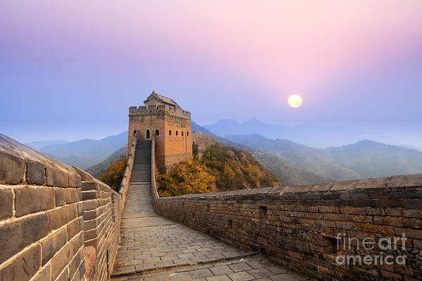 East Asia Wall Art - Photograph - The Great Wall Of China At Sunrise by Chuyuss