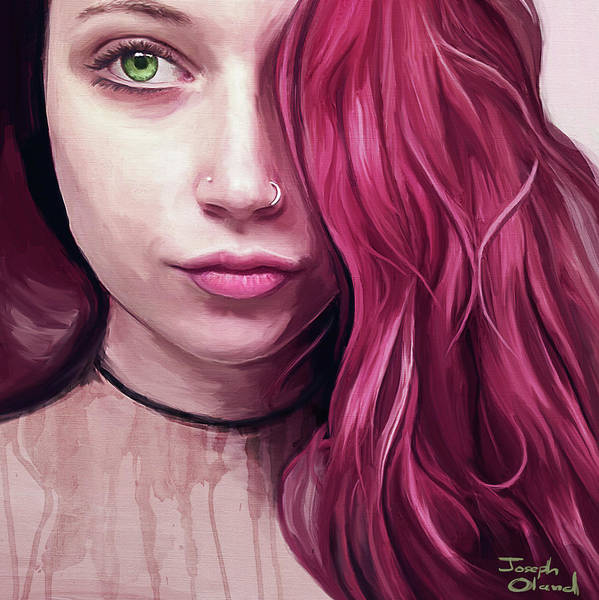 Lip Piercing Wall Art - Painting - The Green-eyed Woman by Joseph Oland