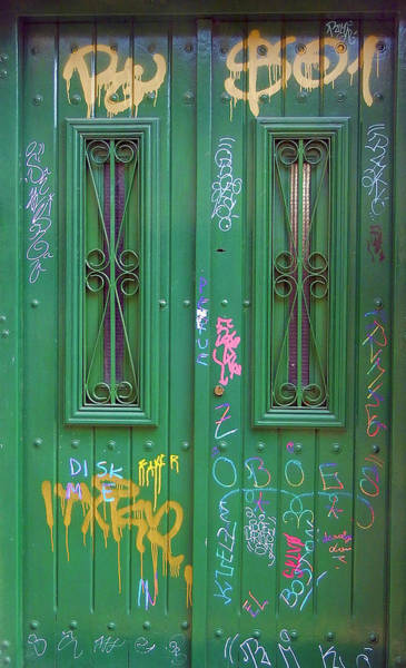Photograph - The Green Graffiti Door, Buenos Aires by Kurt Van Wagner