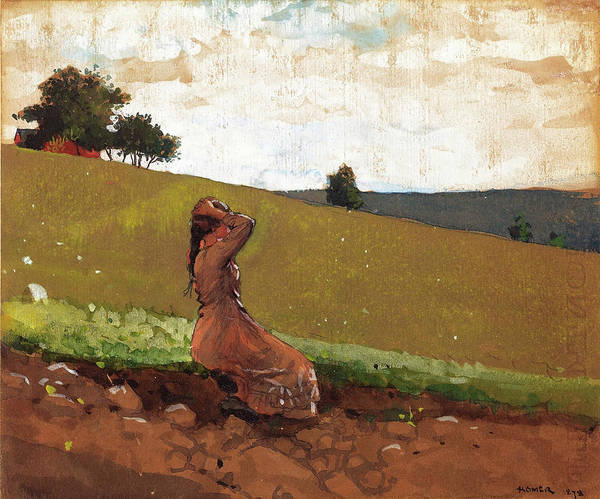 Wall Art - Painting - The Green Hill - Digital Remastered Edition by Winslow Homer