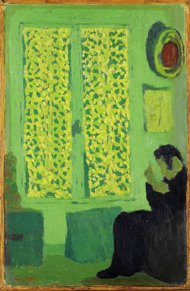 Wall Art - Painting - The Green Interior Or Figure In Front Of A Window With Drawn Curtains by Edouard Vuillard