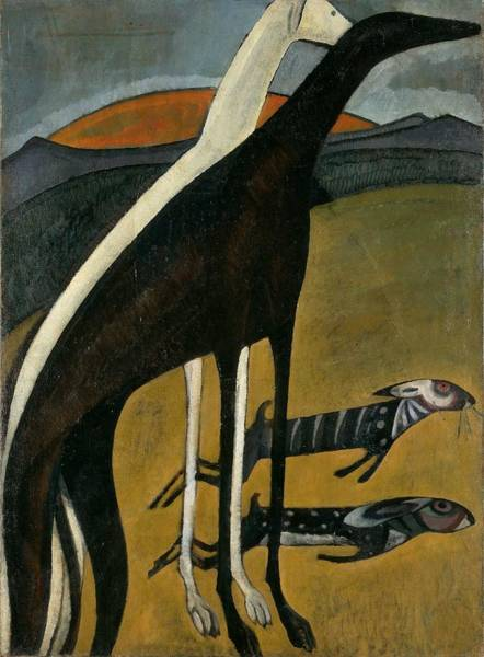 Wall Art - Painting - The Greyhounds ,  Amadeu De Celestial Images Title Sousa  Cardoso by Celestial Images