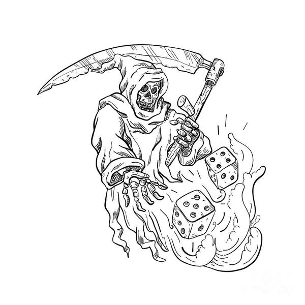 Wall Art - Digital Art - The Grim Reaper Rolling The Dice Drawing Black And White by Aloysius Patrimonio