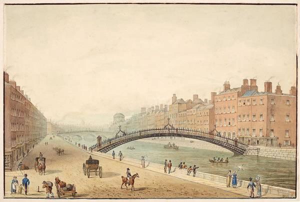 Wall Art - Painting - The Ha Penny Bridge Dublin ,  Samuel Frederick Brocas by Celestial Images