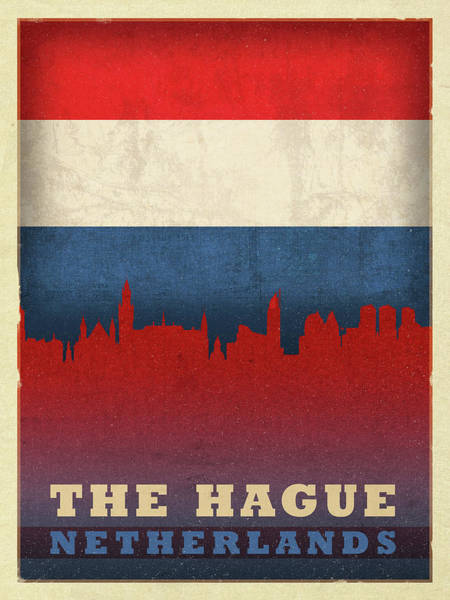 Wall Art - Mixed Media - The Hague Netherlands City Skyline Flag by Design Turnpike