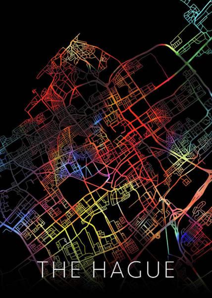 Wall Art - Mixed Media - The Hague Netherlands Watercolor City Street Map Dark Mode by Design Turnpike