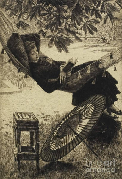 Grass Drawing - The Hammock, 1880 By Tissot by James Jacques Joseph Tissot