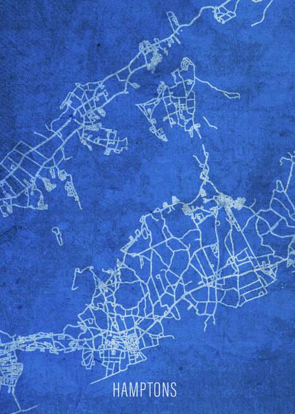 Islands Mixed Media - The Hamptons Long Island City Street Map Blueprints by Design Turnpike