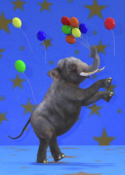 Wall Art - Digital Art - The Happiest Elephant by Betsy Knapp
