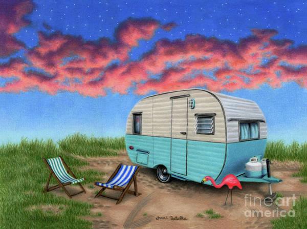 Wall Art - Painting - The Happy Camper- At Night by Sarah Batalka