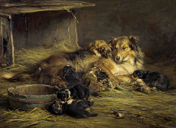 Fox Terrier Wall Art - Painting - The Happy Mother, 1887 by Robert Alexander