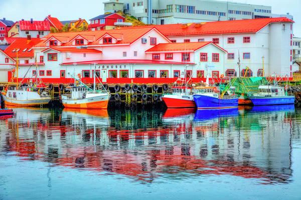 Photograph - The Harbor Of Honningsvag Norway Painting by Debra and Dave Vanderlaan