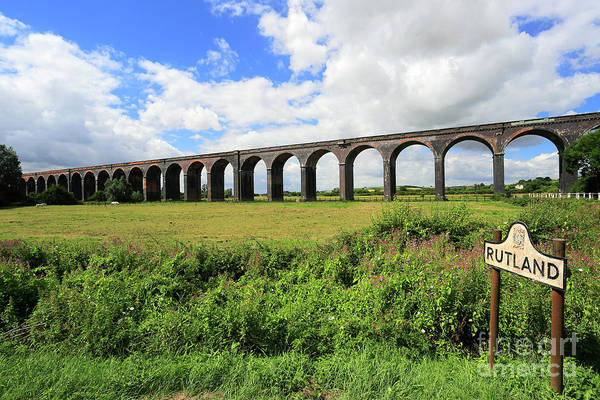 Wall Art - Photograph - The Harringworth Railway Viaduct River Welland Valley by Dave Porter