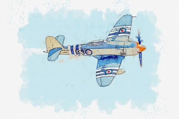 Painting - The Hawker Sea Fury  British Fighter Aircraft Watercolor By Ahmet Asar by Ahmet Asar