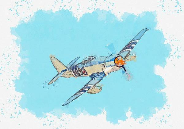 Painting - The Hawker Sea Fury Is A British Fighter Aircraft Designed And Manufactured By Hawker Aircraft Water by Ahmet Asar