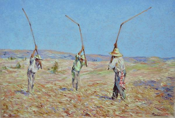 Painting - The Haymakers - Pierre Van Dijk 70x90cm Oil by Pierre Van Dijk