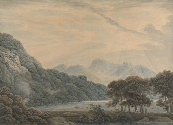 Drawing - The Head Of Ullswater, With The Lodge Of Patterdale On The Left by Thomas Sunderland