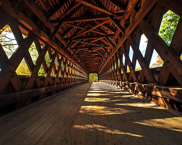 Photograph - The Henniker Covered Bridge Henniker Nh New Hampshire In Autumn Inside by Toby McGuire