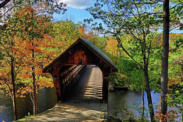 Henniker Wall Art - Photograph - The Henniker Covered Bridge Henniker Nh New Hampshire In Autumn Shadows by Toby McGuire