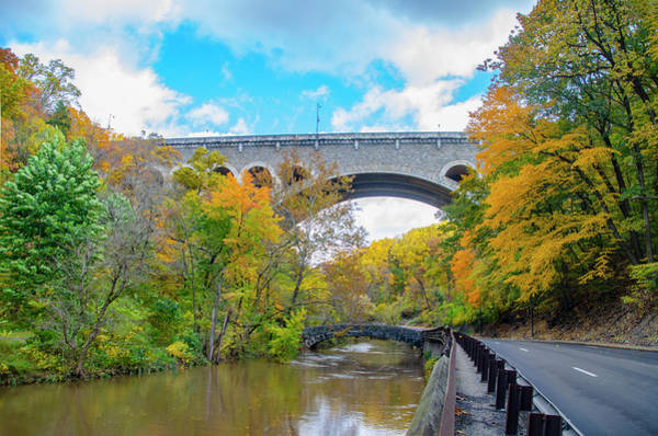 Photograph - The Henry Avenue Bridge With Peak Fall Colors by Bill Cannon