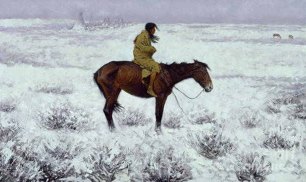Wall Art - Painting - The Herd Boy, Circa 1905  by Frederic Remington