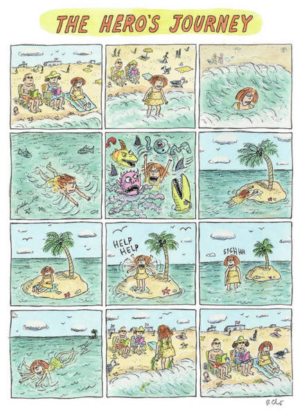 Sharks Drawing - The Heros Journey by Roz Chast