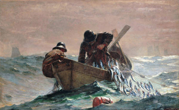Blast Wave Wall Art - Painting - The Herring Net - Digital Remastered Edition by Winslow Homer