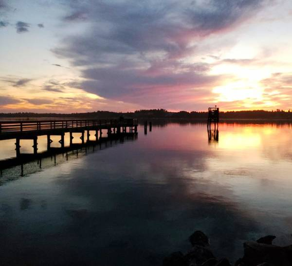 Photograph - The Hollering Place Pier At Sunset by Suzy Piatt