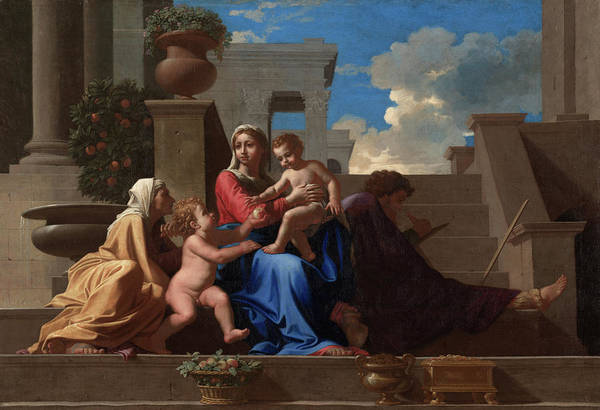 Virtue Painting - The Holy Family On The Steps, 1648 by Nicolas Poussin