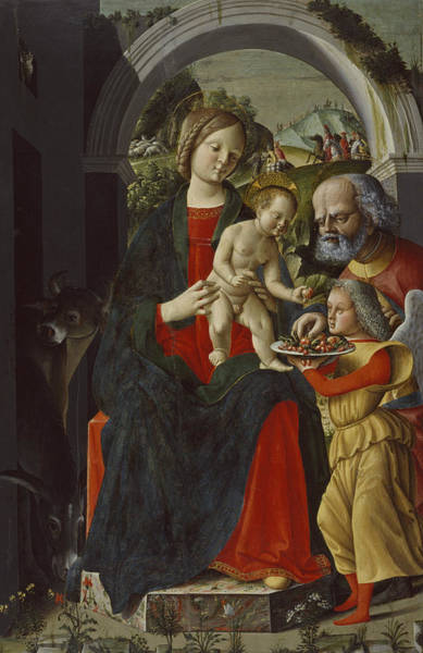 Painting -  The Holy Family With An Angel by Baldassare Carrari