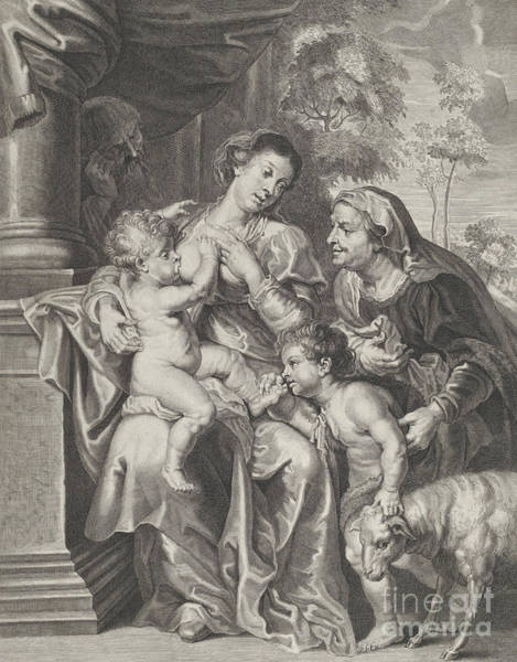 Wall Art - Drawing - The Holy Family With Elizabeth And The Infant Saint John The Baptist, The Virgin Nursing The Infant  by Rubens