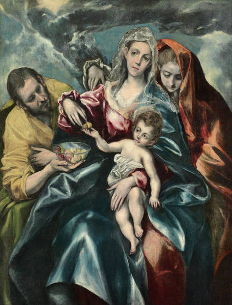 Virtue Painting - The Holy Family With Mary Magdalen, 1595 by El Greco