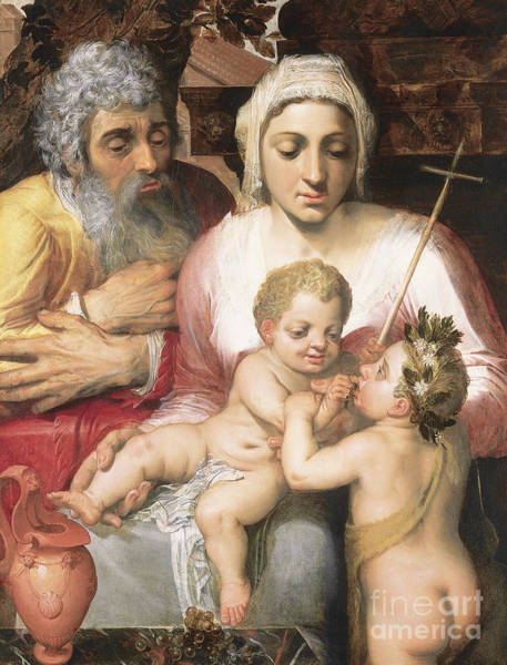 Wall Art - Painting - The Holy Family With Saint John The Baptist, 1546  by Frans Floris