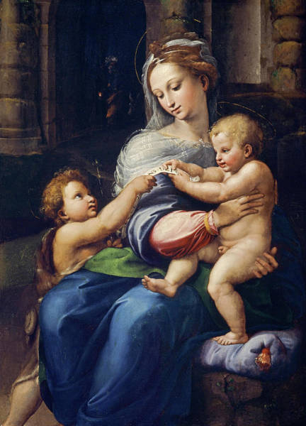 Wall Art - Painting - The Holy Family With The Infant Saint John The Baptist, 1523 by Giulio Romano
