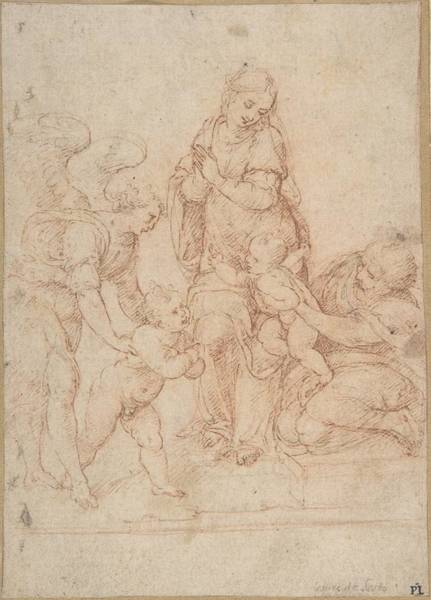 Cesare Painting - The Holy Family With The Young John The Baptist And An Angel 16.9 X 12.2 Ny, Metropolitan by Cesare da Sesto