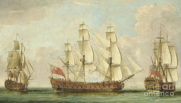 Wall Art - Painting - The Honourable East India Company's Ship Bessborough In Three Positions In The Channel by William Elliott