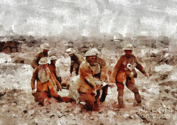 Dday Wall Art - Painting - The Horror Of War, Wwi by Mary Bassett