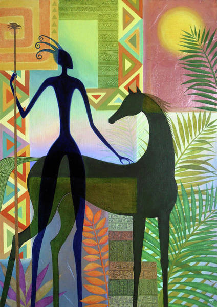 Wall Art - Painting - The Horse And Her Warrior by Jennifer Baird