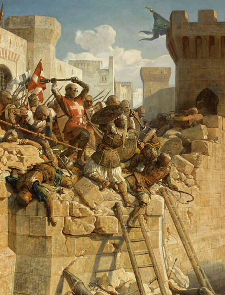 Wall Art - Painting - The Hospitalier Marechal Matthieu De Clermont, Defending The Walls At The Siege Of Acre, 1291 by Dominique Louis Fereol Papety