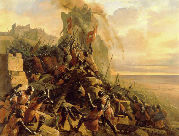 Wall Art - Painting - The Hospitaller Conquest Of Rhodes by Eloi Firmin Feron