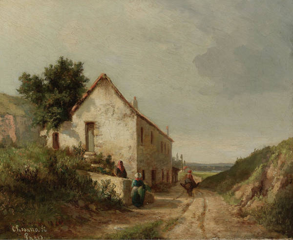 Campagne Painting - The House By The Road Of Campagne Wth Figures, 1856 by Camille Pissarro