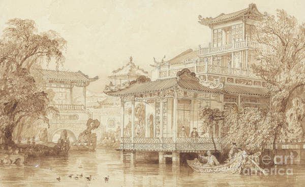 Wall Art - Drawing - The House Of A Merchant Near Canton by Thomas Allom